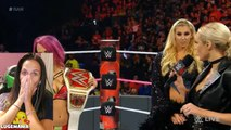 WWE Raw 10/10/16 Rusev interrupts Sasha and Charlotte