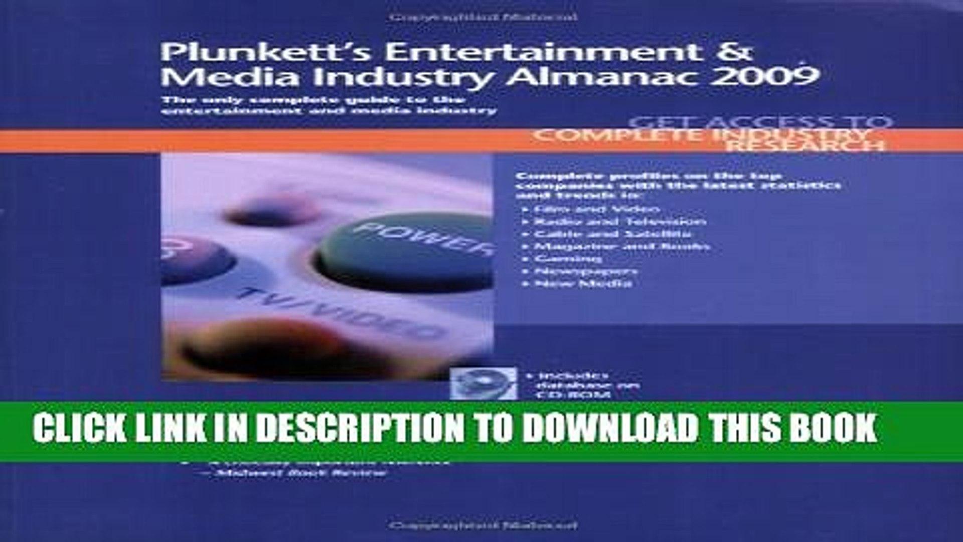New Book Plunkett s Entertainment   Media Industry Almanac 2009: Entertainment   Media Industry