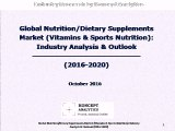 Global Nutrition/Dietary Supplements Market (Vitamins & Sports Nutrition): Industry Analysis & Outlook (2016-2020)