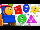 bob the train |  five little shapes jumping on the bed | nursery rhyme | 3d rhymes