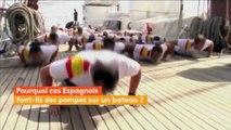Des Espagnols font des pompes pour soutenir leurs forces armées