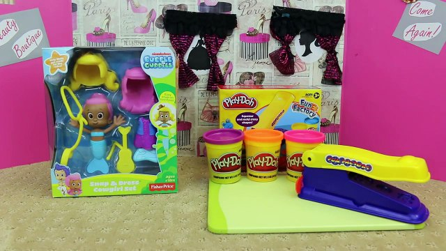 Bubble Guppies Play Doh Mermaid Snap & Dress Cowgirl Set and Fun Factory Play Doh Set ToysReviewToys