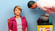 Barbie Ken Shaving Barber Shop Shaving Fun Ken Beard and Mustache Toys Review with Brunette Barbie