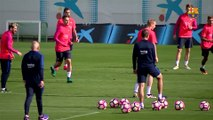 FC Barcelona training session: final workout before visit of Deportivo