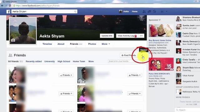 How to Hide your Facebook Friends List Facebook Friend list ko kaise chhupa