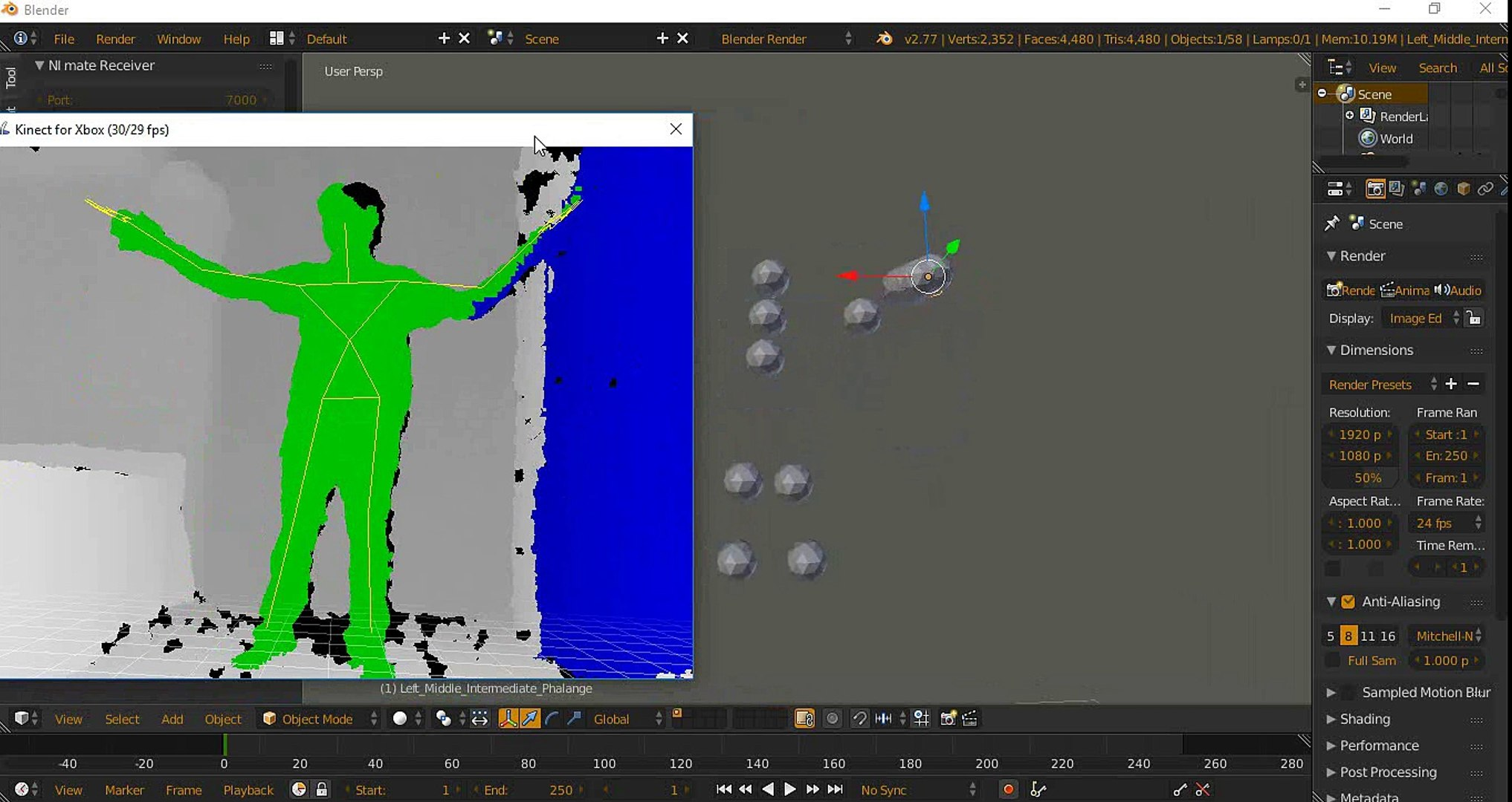 Kinect motion capture recording in blender