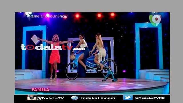 Pamela Sued pone a Nashla Bogaert y La Materialista en una Bicicleta-Pamela Todo Un Show-Video