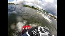 Guy completes 11 consecutive back flips on jet ski before crashing