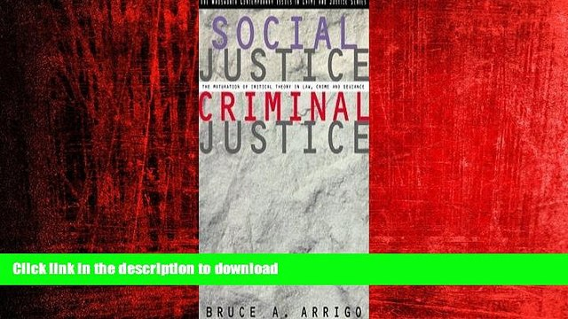 READ ONLINE Social Justice/Criminal Justice: The Maturation of Critical Theory in Law, Crime, and