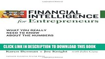 [PDF] Financial Intelligence for Entrepreneurs: What You Really Need to Know About the Numbers