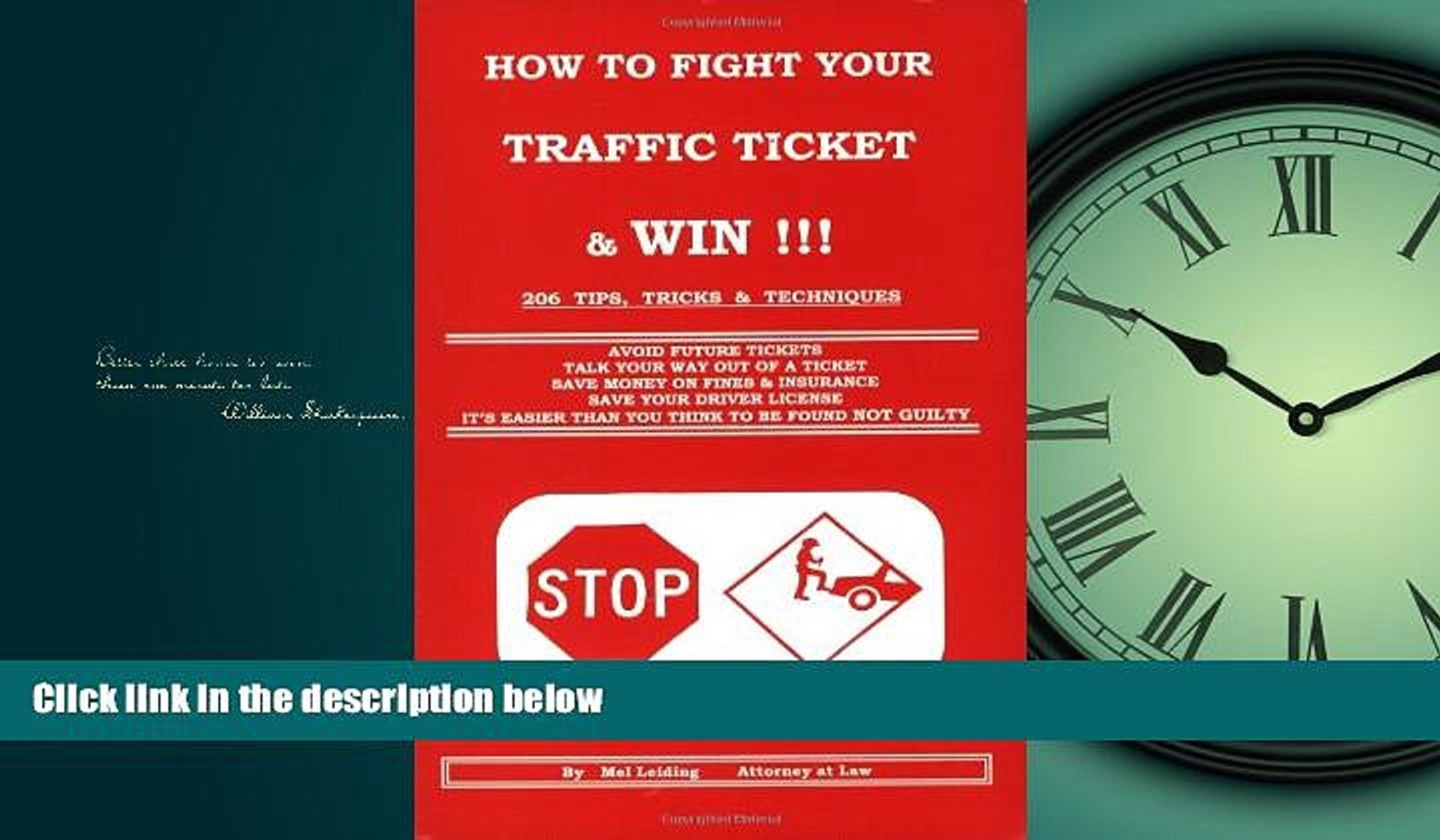 EBOOK ONLINE  How to Fight Your Traffic Ticket and Win!: 206 Tips Tricks and Techniques  BOOK