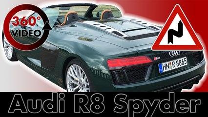 360 Drive Audi R8 Spyder 2016 on Mountain Road at Lloret de Mar, Spain Test VR Driving 360 degrees