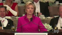 Hillary Clinton's jokes at the Al Smith Dinner, in two minutes