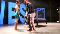 Magic show guests stripped naked on stage