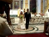 Damien and Maria exiting the church