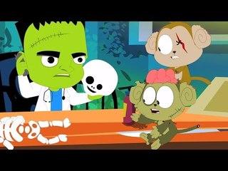 Furchtsamer Fünf kleine Affen | Kinderlieder | Kinder Karikatur | Five Little Monkeys  | Kids Song