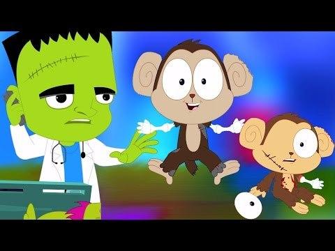 đáng sợ Năm Ít khỉ | vườn ươm Rhyme | em hoạt hình | Five Little monkeys | Nursery Rhyme | Kids Song