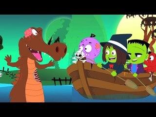 da fileira da fileira seu barco |  assustador para as crianças | canções pré-escolar das crianças