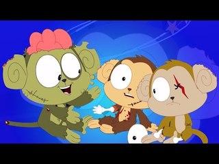 ห้าลิงน้อย | น่ากลัวลูกเพลง | Halloween Songs For Kids | Scary Kids Songs  | Five Little Monkeys