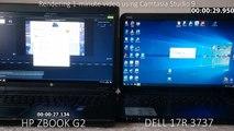 HP ZBOOK STUDIO 17 G2 vs. DELL INSPIRION 17R 3737 rendering speed comparison - Camtasia Studio 9