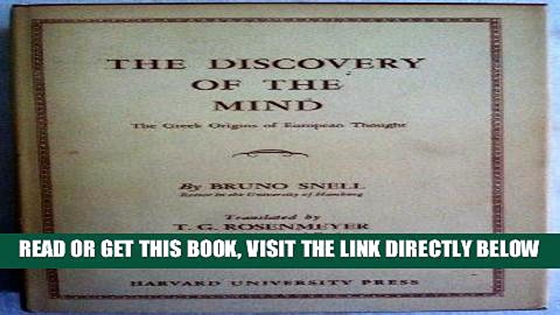 [FREE] EBOOK The Discovery of the Mind: The Greek Origins of European Thought BEST COLLECTION