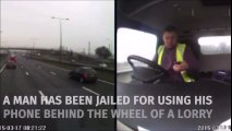 Conduire son camion en utilisant son téléphone.. FAIL !