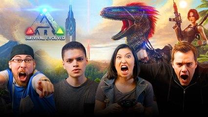 Let's Play ARK SURVIVAL EVOLVED with JoblessGarrett, Erika Ishii, RickyFTW and ArodGamez | Smasher