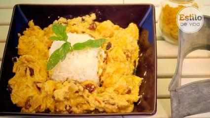 Pollo al curry con arroz | Receta fácil