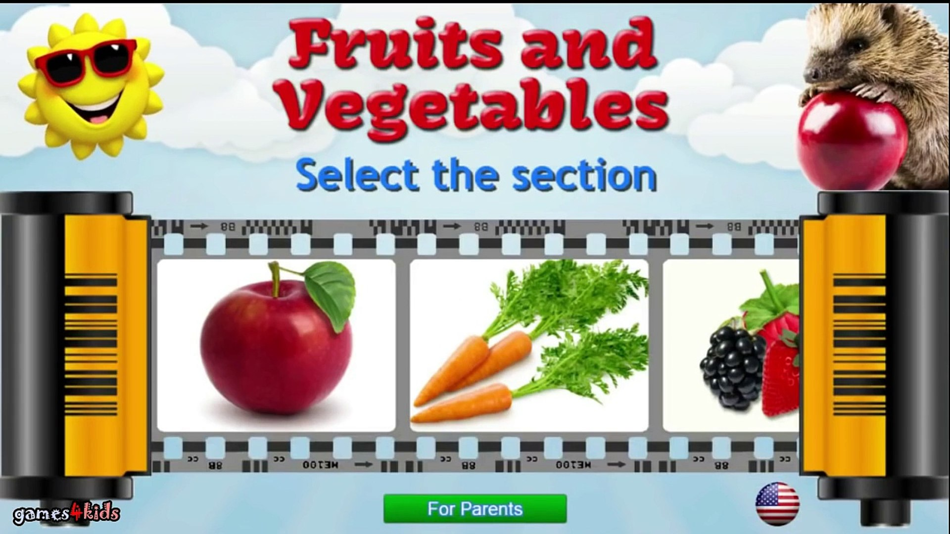 Позволяет узнать фрукты овощи ягоды фрукты Дошкольное Обучение Обучение видео для детей