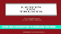 Ebook Lewin on Trusts: 1st Supplement Free Read