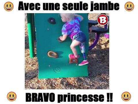 Avec une seule jambe... BRAVO princesse !!
