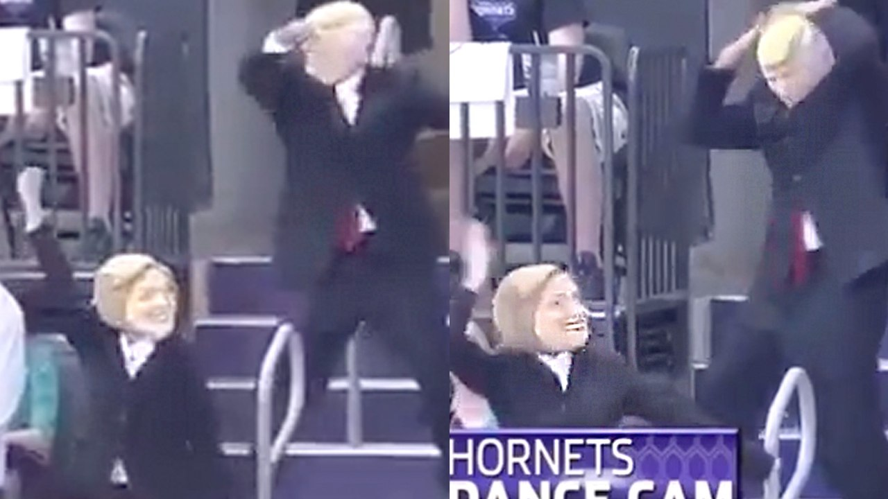 Hillary Clinton Donald Trump Dance To Juju On That Beat At Hornets Game Video Dailymotion