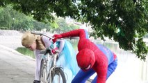 #Spiderman Vs Flozen Elsa in Realife ! Maleficent Drop Tacks , Black PART 1
