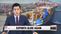 Korea's exports fall 3.2% in October