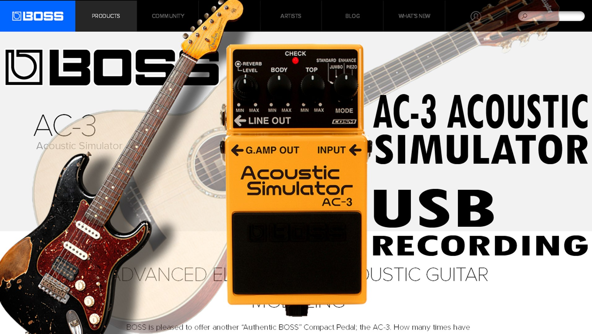 Boss AC-3 Acoustic Simulator Demo Review - USB Recording
