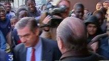 Les politiques et la banlieue : Jacques Chirac évite des crachats à Mantes-la-Jolie