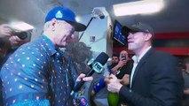 L'acteur Bill Murray dans les vestiaires des Cubs après leur victoire au World Series de Baseball