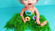 Baby Alive TATOO MAKEOVER Finding Dory Nemo Tattoos Hawaiian Grass Skirt New Outfit Dress Up