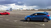 Ford Mustang vs Ford Focus RS - Top Gear: Drag Races - drift battle