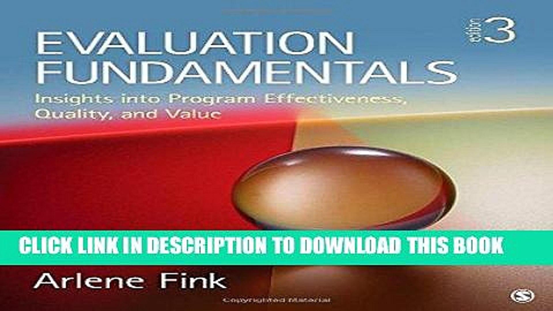 Evaluation Fundamentals >> Pdf Evaluation Fundamentals Insights Into Program Effectiveness Quality And Value Full Online
