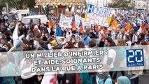 Grève des infirmiers : un millier d'infirmiers et aide-soignants dans la rue à Paris