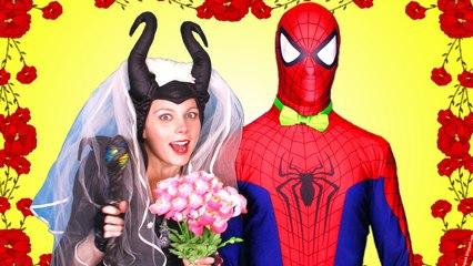 Spiderman MARRIES A ZOMBIE!! w  Frozen Elsa Joker Maleficent Princess Anna TOYS! Superheroes IRL  )