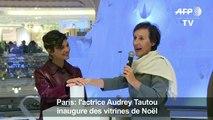 Audrey Tautou inaugure des vitrines de Noël à Paris