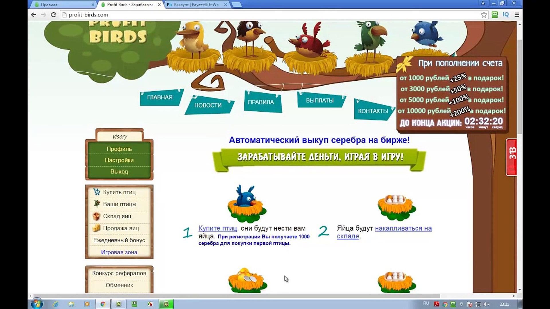 Новая игра с выводом реальных денег, profit birds (профит бердс). Обзор игры profit birds com