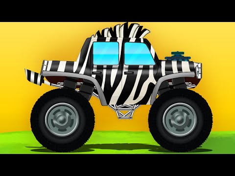 Zebra Monster Truck | Monster Trucks Stunts | kids trucks