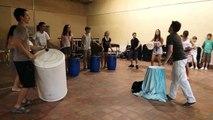 Morceau de percussions urbaines par les élèves du stages de percussion