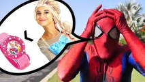 Frozen Anna Becomes Spider Elsa is a Frog and eats a Fly w Spiderman Disney Princess Fun Movie