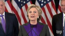 Hillary Clinton gives concession speech: 'I'm sorry we did not win.'