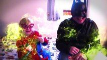 BATMAN vs SPIDERGIRL in a FARTING superhero contest In Real Life (Gross Poops and Farts) NEW 2016