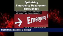 Buy books  Optimizing Emergency Department Throughput: Operations Management Solutions for Health